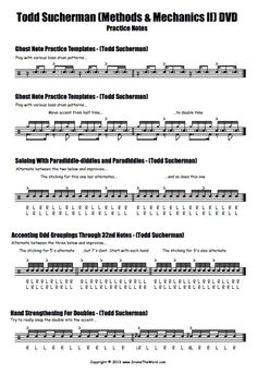 "Todd Sucherman ""Methods & Mechanics II"" Drum Pracitce Notes (Page Drum Sheet Music, Drums Sheet, Todd Sucherman, Drummer Quotes, Learn Drums, Drum Patterns, Drum Lessons, Soloing, Transcription"