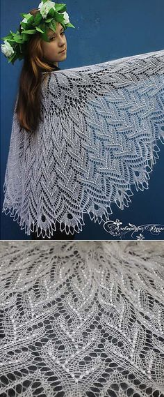 Free Knitting Pattern for a Marshmallow Ice Cream Lace Shawl. Marshmallow Ice Cream is a top down, semi-circle shawl, worked from the center back of the neck to the border. Knitting Patterns ponchos Free knitting pattern for a lace shawl Lace Knitting Stitches, Lace Knitting Patterns, Lace Patterns, Free Knitting, Knitting Machine, Knitted Shawls, Crochet Shawl, Lace Shawls, Tunisian Crochet