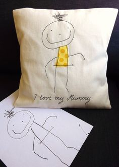 Your Child's Art Personalised Embroidered Cushion Cover - Handmade To Order