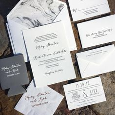 """Fresh Ink Portfolio on Instagram: """"Mary Stanton Toler and Kirk Suddeth Wedding Invitations featured a marble grey and white envelope liner that stole our hearts #kirkgotmaryd"""""""
