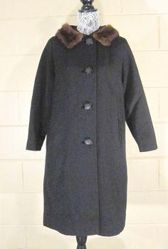 Vintage 1960's Coat Mink Collar Black https://www.etsy.com/listing/263306613/vintage-1960s-coat-mink-collar-black?utm_source=socialpilotco #vintage #coat #redbrickvintage