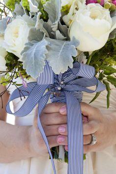 Navy striped ribbon bouquet wrap. So preppy.