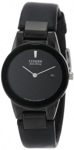 39bb277332c Citizen Womens GA105506E EcoDrive Axiom Stainless Steel and Black Leather  Watch *** Check this