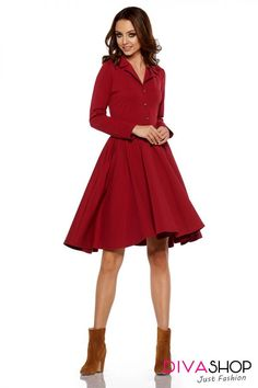 Cotton Crimson A Line Dress With Gold Buttons Day Dresses, Dress Outfits, Crimson Dress, Flare Skirt, Fashion Addict, Outfit Of The Day, Vintage Inspired, Street Wear, Street Style