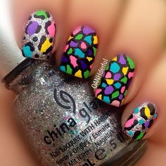 "Mosaic and leopard nails instead. Using acrylic paint and #ChinaGlaze ""Prism"" - @oanhderful"