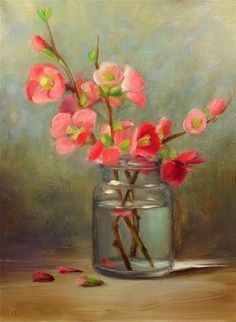 "Daily+Paintworks+-+""Japonica+Quince+in+Old+Jar""+-+Original+Fine+Art+for+Sale+-+©+Mary+Ashley"
