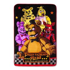 Fantasy comes to life in this super soft plush Five Night's at Freddy's blanket. Blanket features all 4 main characters from the hit video game. Twin blanket is x and polyester. Fnaf, Sister Location, Freddy S, Five Nights At Freddy's, Little Ones, Plush, Fantasy, Blanket, Pattern