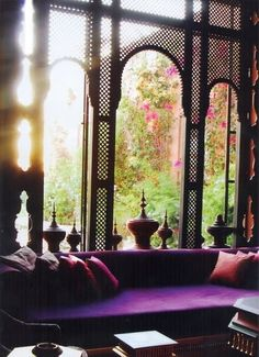I LOVE THIS  india meets morocco, sumptuous purple velvet, sun rays, greenery.