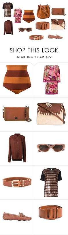 """""""brown fashion"""" by monica022 ❤ liked on Polyvore featuring Malia Mills, Trina Turk, Coach, Amélie Pichard, Ilaria Nistri, RetroSuperFuture, Closed, Rochas, Tod's and EGREY"""