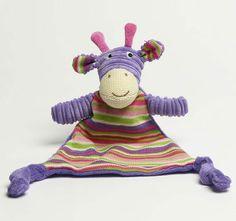 Jiggle and Giggle Stripe Giraffe Knit Blankie Purple Embroidered Towels, Giraffe, Dinosaur Stuffed Animal, Teddy Bear, Knitting, Purple, Animals, Accessories, Giraffes