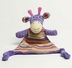 Jiggle and Giggle Stripe Giraffe Knit Blankie Purple