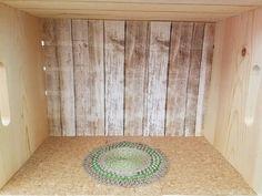 Cork floors,Barnwood pattern wallpaper braided handmade rug.