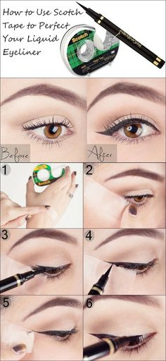 How to Use Scotch Tape to Perfect Your Liquid Eyeliner.  Eyeliner Tips And Tricks For Beginners.  Looking For Great Gel, Liquid, Winged, Or Pencil Techniques?  We Have Products For Achieving A Natural Look And Some Sweet Tips For Techniques For Glasses.  All Women Must Learn How To Do Step By Step Natural Eyeliner For Bottom And Top Lids.