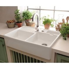 Kitchen sink ideas (The Attractive Double Ceramic Kitchen Sink Villeroy Boch Butler 90 Ceramic Belfast Double Sink is one of the pictures that are related to the pic) Ceramic Kitchen Sinks, Kitchen Sink Decor, Best Kitchen Sinks, Kitchen Sink Design, Double Bowl Kitchen Sink, Farmhouse Sink Kitchen, Modern Farmhouse Kitchens, New Kitchen, Belfast Sink Kitchen