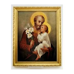 A popular gift idea for a Catholic family or church. The gold frame is very rich looking. The photo really depicts St. Joseph and Baby Jesus in a truly beautiful way. Catholic Company, Gold Wood, St Joseph, Religious Art, Christ, Concept, Children, Frame, Artwork