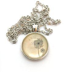 DANDELION Silver Pendant NECKLACE ~ Vintage/Antique Dandelion print ~ 25mm 1 inch ~ 30 Inch Chain ~ Glass Dome Pendant ~ Glass Cabochon