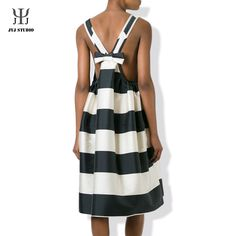 Aliexpress.com : Buy Black And White Striped Dress Big Bow Cute Halter Elegant Sexy Dress Women Knee length High Waist Casual Loose Stripe Dress from Reliable dress up girls dresses suppliers on JYJ STUDIO Cheap Dresses, Girls Dresses, Wide Stripes, Big Bows, Striped Dress, Party Dress, Dress Up, Jyj, Clothes For Women