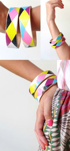 If your BFF scoffs at minimalism and likes to make a statement with her jewelry, whip up a few harlequin bangles. | 27 Next-Level DIY Friendship Bracelets