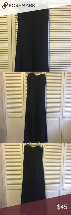 Floor length, navy dress Empire-waist, long navy dress with removable strap. Originally size 10, but altered to a size 4. Has sewn in cups, but can easily be removed if desired. Zip up back. Was worn once as a bridesmaid dress. Bill Levkoff Dresses