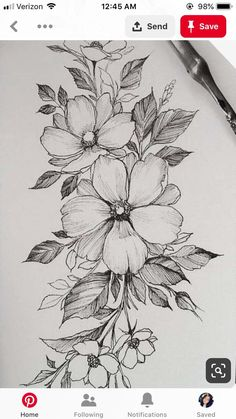 What flower is this? Asking for a tattoo idea, TYIA - gardening Tatoo Floral, Floral Thigh Tattoos, Floral Tattoo Design, Flower Tattoo Designs, Flower Tattoos, Flower Tattoo Drawings, Flower Art Drawing, Flower Sketches, Floral Drawing