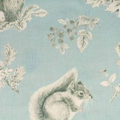 Sanderson Woodland Walk Fabrics Squirrel & Hedgehog Fabric - Sky Blue/Pebble - 225521