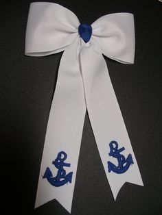 Hair Bow White Blue Delta Gamma Anchors Streamers by HareBizBows