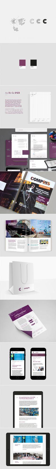 Visual identity for Compris.  -- Opdracht: ontwikkeling van de visuele identiteit van Compris, een magazine voor relaties, ontwikkeling van de nieuwe website en uitwerking van stationery (briefpapier, visitekaartjes, productsheets).