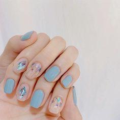 Cute Acrylic Nails, Gel Nail Art, Nail Manicure, Cute Nails, Pretty Nails, Bling Nails, Red Nails, Asian Nails, Soft Nails