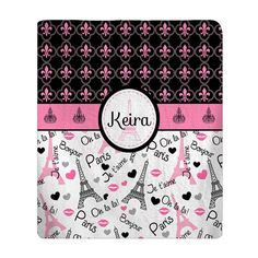 Personalized Paris Kiss Plush Fleece Blanket  Fleur by redbeauty