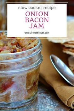 """This recipe for Crock Pot Onion Bacon Jam slowly cooked and has deep flavor. Is """"Jam"""" the right term? It's hard to say. Jams usually have fruit plus sugar. Onions are a bulb vegetable so technically we've veered off the """"jam"""" path already. Slow Cooker Desserts, Slow Cooker Recipes, Crockpot Recipes, Cooking Recipes, Jam Recipes, Sweet Recipes, Fruit Recipes, Brunch Recipes, Bacon Onion Jam"""