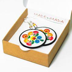 Folk Flowers polish folk art motif Earrings Round and Colorful white orange blue green,