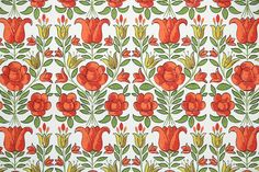 Retro Wallpaper - 1960s Vintage Wallpaper - Red and Yellow Tulips