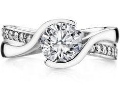 Semi Bezel Swirl Diamond Engagement Ring in 14K White Gold