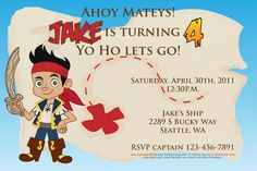 Jake and the Neverland Pirates party invite