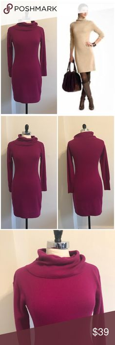 Banana Republic 100% cashmere sweater dress Size small. Mock neck. 100% cashmere. EUC **I am selling the raspberry colored dress. The tan one is just to show fit & style. *** Banana Republic Dresses