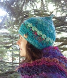 FREEFORM CROCHET HAT  Handspun Yarn  Blue Sea by tinkertailoruk
