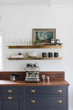 Ada Modern Classic — jean stoffer design Coffee Bar design, built by Kenowa Builders coffee bar, cof Coffee Bar Design, Coffee Bar Home, Home Coffee Stations, Coffee Corner Kitchen, Coffee Station Kitchen, Coffe Bar, Café Design, Regal Design, Home Design