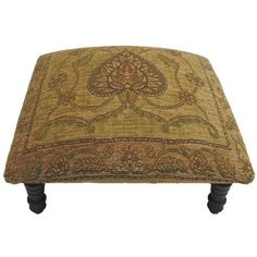 Corona Decor Victorian Design Hand-woven Tan Footstool ($164) ❤ liked on Polyvore featuring home, furniture, ottomans, brown, victorian era furniture, colored furniture, colored ottomans, computer furniture and handpainted furniture
