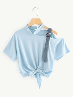 SHEIN offers Asymmetrical Neck Knot Hem Tee & more to fit your fashionable needs. Cute Girl Outfits, Cute Casual Outfits, Dope Outfits, Stylish Outfits, Girls Fashion Clothes, Teen Fashion Outfits, Fashion Dresses, Hipster Fashion, Stylish Dress Designs