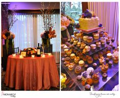 Lodge at Torrey Pines orange and purple wedding. Table number named after vineyards. Cupcake stand with small cake for cake cutting by Sweet Cheeks.   San Diego Wedding Planner, Monarch Weddings www.monarchweddings.com