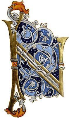 Calligraphy - letter N Medieval Manuscript, Medieval Art, Illuminated Letters, Illuminated Manuscript, Illumination Art, Fancy Letters, Book Of Kells, Celtic Art, Celtic Dragon