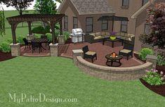 Curvy Courtyard Patio Design With Seating Wall U0026 Pergola U2013 MyPatioDesign.com