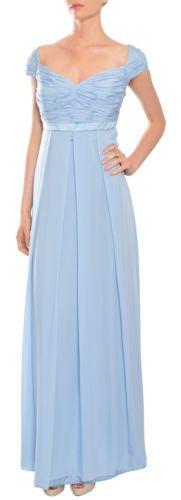 ESCADA Heavenly Light Blue Silk Georgette Cap Sleeve Evening Gown