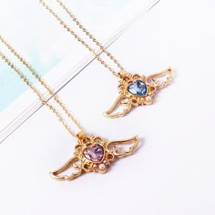 Angel Wings Peach Crystal Heart Necklace (2 Colors)