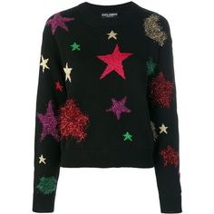 Dolce & Gabbana sweater with star motif ($1,695) ❤ liked on Polyvore featuring tops, sweaters, black, star print sweater, multi color tops, ribbed long sleeve top, ribbed top and star print top