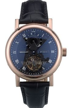 Replica Breguet Classique Complications Rose Gold Plated Bezel Black Dial With Roman Numerals Watch With Black Leather Strap