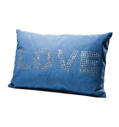 Cuscino Love Blu con Borchie Kare Design