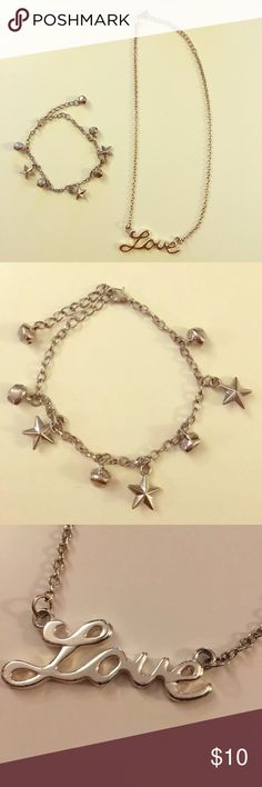 """Silver Anklet & Necklace Adorable Silver Stars and Bells Anklet purchased in Chile  and """"Love"""" necklace from Forever 21. Jewelry"""
