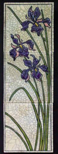 Val Webb pottery carving nouveau lines ceramics clay iris tile