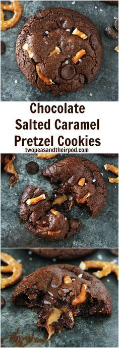 Chocolate Salted Caramel Pretzel Cookie Recipe on http://twopeasandtheirpod.com Rich chocolate cookies with pretzel pieces and a caramel surprise inside! These cookies are AMAZING! You will love the sweet and salty combo!